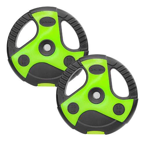 Par De Discos Para Pesas 1 Pulgada Cemento 15 Lb Verde Negro