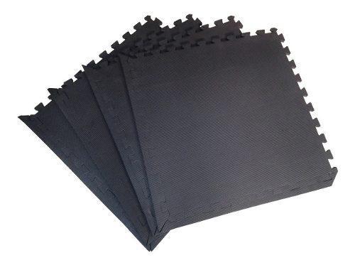 Piso Gimnasio Color Negro Eva Fomi Espesor 12 Mm Cubre 5 Mt2