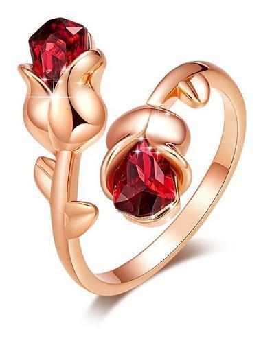 14 Febrero Regalo Amor San Valentin Anillo 2 Rosas Ajustable