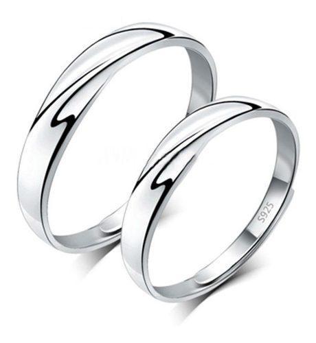 2 Anillos Duo Promesa Plata 925 Amor Parejas Espiral Union