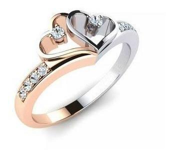 Anillo Compromiso Oro 10k Corazón Con Cz Corte Diamante