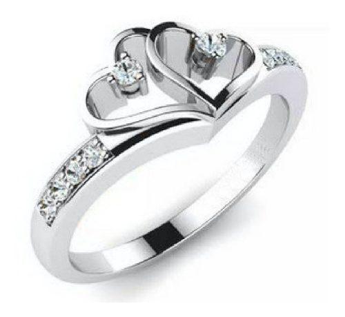 Anillo Compromiso Oro 14k Corazón Con Cz Corte Diamante