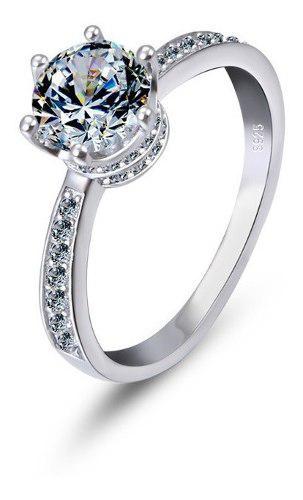 Anillo Compromiso Queen's Crown Ak Jewelry Plata 925 Oro 18k