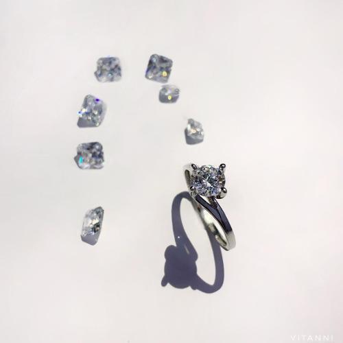 Anillo De Compromiso Oro Solido 14k B. Diamante Cultivado
