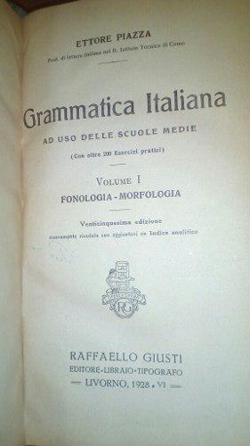 Libro Antiguo 1928 En Italiano Grammatic Italiana