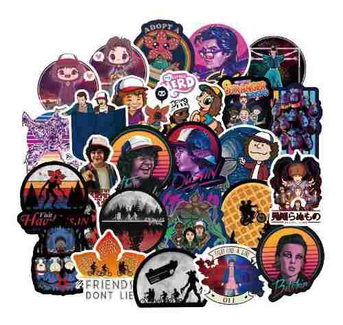 Stranger Things 50 Calcomanias Stickers Pvc Contra Agua