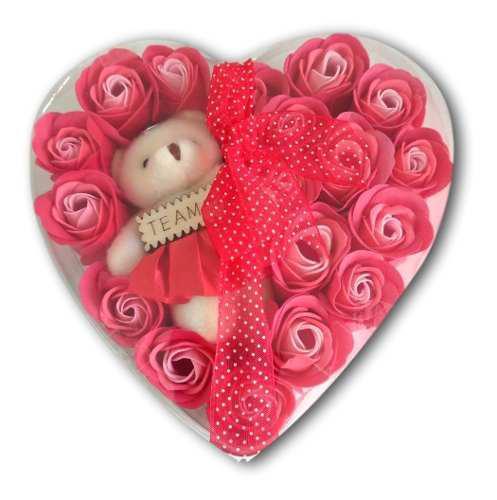 Corazón 19 Rosas Flores Jabón Osita Peluche Moño Liston
