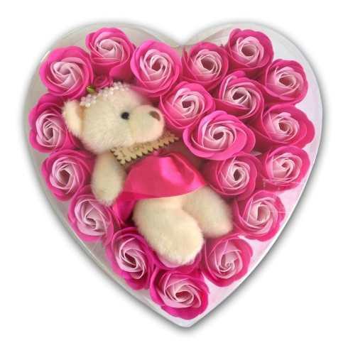Corazón 19 Rosas Pastel Flores Jabón Osita Peluche