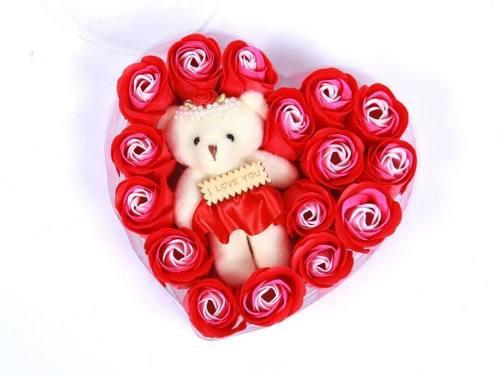 Corazón 19 Rosas Rojas Flores Jabón Osita Peluche P/regalo