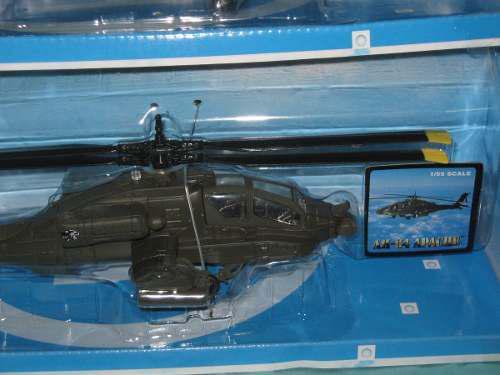 Helicoptero Apache De Metal Y Plastico Die Cast, A Escala.