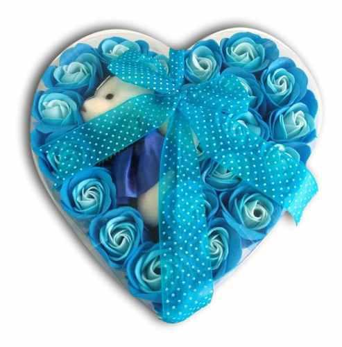 Osita Peluche Moño Liston Azul Corazón 19 Rosas Flores