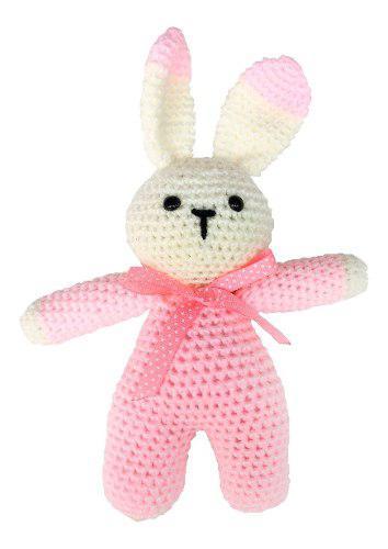 Sonaja Para Bebe Conejo Tejido Crochet Peluche Rosa