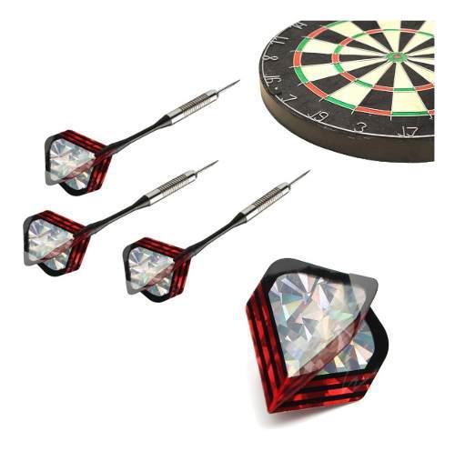 3pcs Crystal Pet Dardos Plumas Laser Cola Ala Rojo Y Plata S