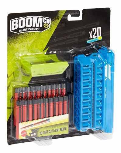 Clip Azul Con 20 Dardos Color Negro Con Rojo Boom Co Mattel