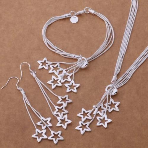 Aretes Collar Pulsera De Estrella Para Mujer Plata Ley.925