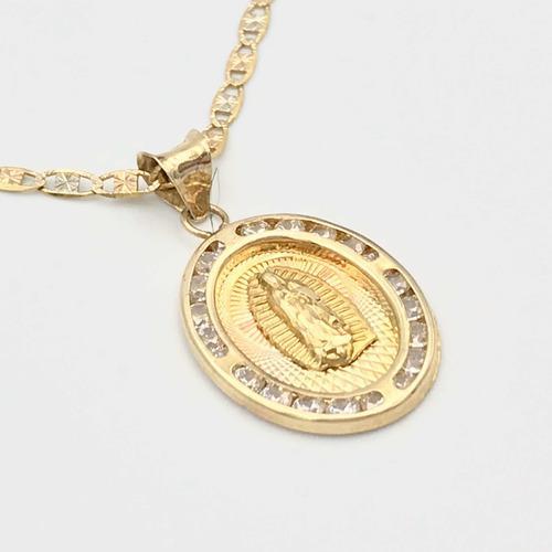 Cadena 15 Años Oro Fino 10k Medalla Virgen 55 Cm / 2 Mm