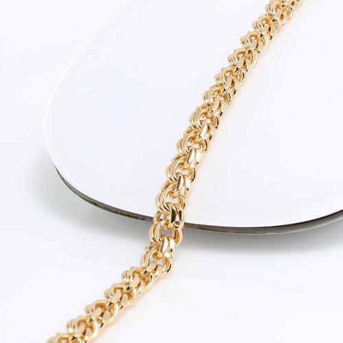 Cadena De Hombre Eslabon Chino De Oro Lamin 18k 60cm X 4mm