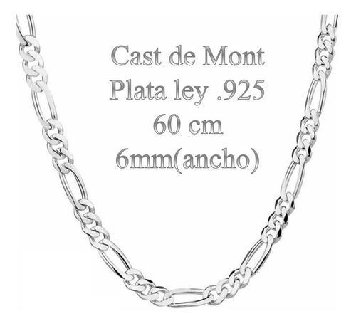 Cadena De Plata Ley.925 6mm Ancho 60cm Largo Plata 100%