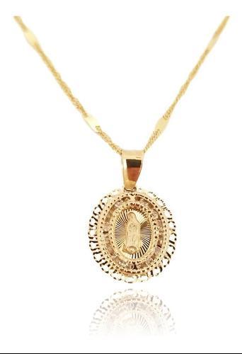 Cadena Medalla Virgen Bautizo Oro Sólido 14k