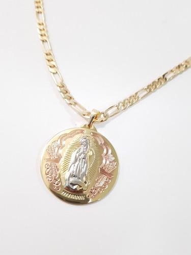 Cadena Y Medalla De Virgen De Guadalupe De 3.7 Cm Oro Lam.