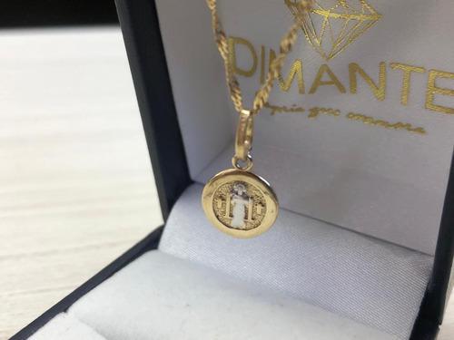 Cadena Y Medalla San Benito Oro10k Envío Y Estuche Gratis