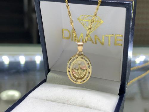 Cadena Y Medalla Zirconia Mi Bautizo Oro10k Envio Gratis
