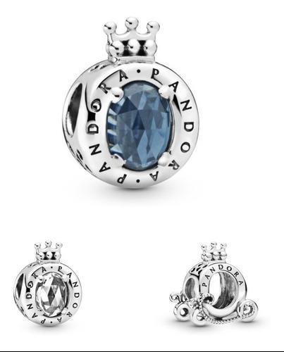 Charm Corona O De Pandora Con Brillante 100% Plata 925
