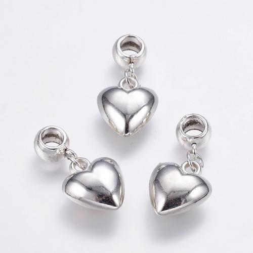 Charm Dije Corazón Plástico Acabado Plata Tipo Pandora