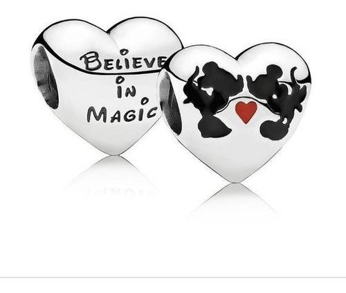Charm Pandora Mickey Minnie Beso, 100% Plata S925