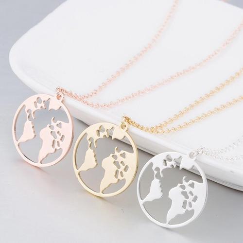 Collar Con Dije De Mundo, Planeta, Mapa 1 Pieza
