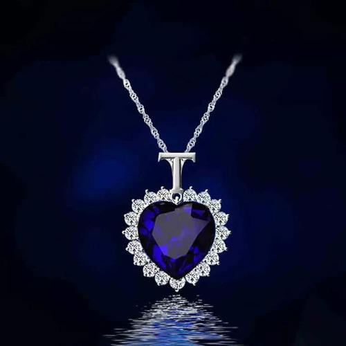 Collar Corazon Azul Titanic Diamantes De Fantasia Mayoreo