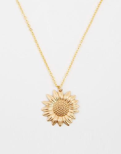 Collar De Girasol Baño De Oro Regalo De San Valentin Amor