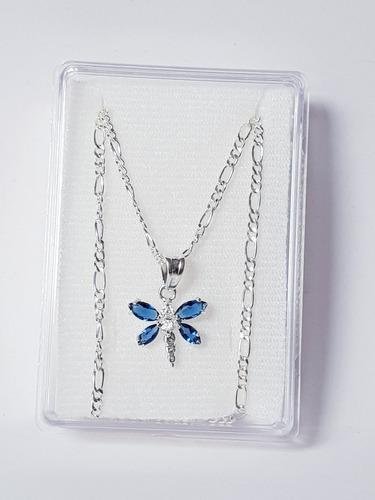 Collar De Libelula Azul Zirconias Cadena De Plata 925 Z2