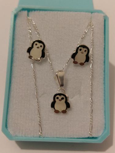 Collar De Pinguino Negro De Plata Y Aretes Envio Gratis
