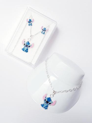 Collar De Stich Azul De Plata 925 Con Pulsera 18 Y Aretes 1