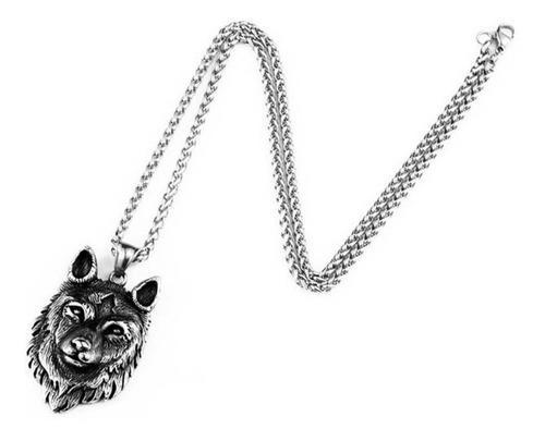 Collar Dije Lobo Vikingo Celta Amuleto 316l Acero Inoxidable