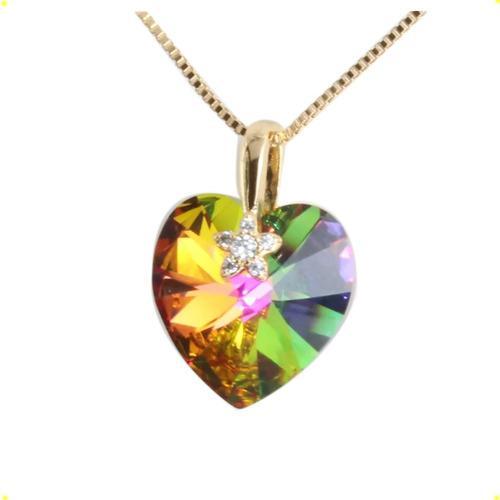 Collar Dije Swarovski Elements Verde Oro Lamin 18k Corazón