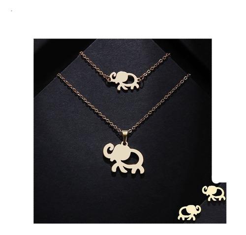 Collar Pulsera Y Aretes De Elefante Acero Inoxidable Kit