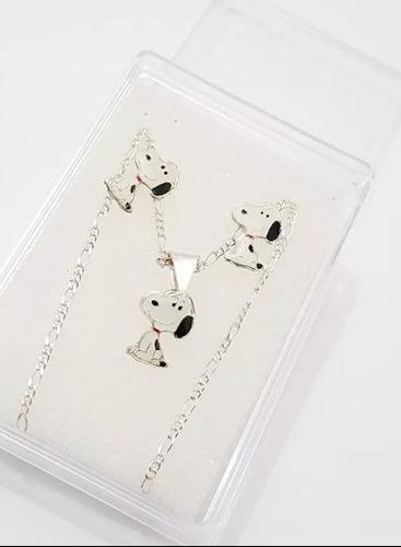 Collar Y Aretes De Snoopy De Plata Envio Gratis