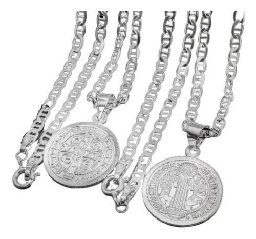 Conjunto Cadena Y Medalla San Benito En Plata Fina Ley 925