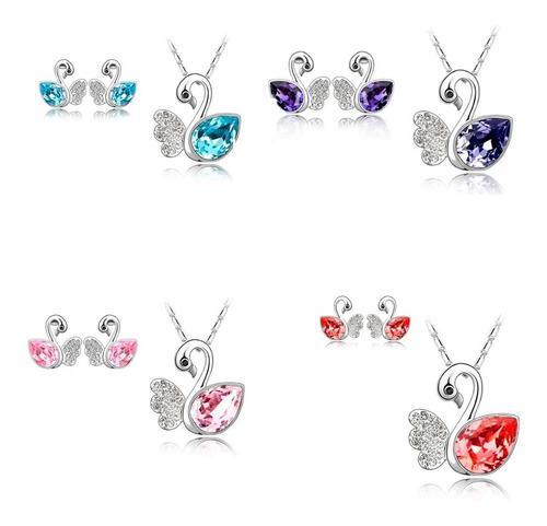 Conjunto Collar De Cisne Y Aretes Cristal Austriaco Full
