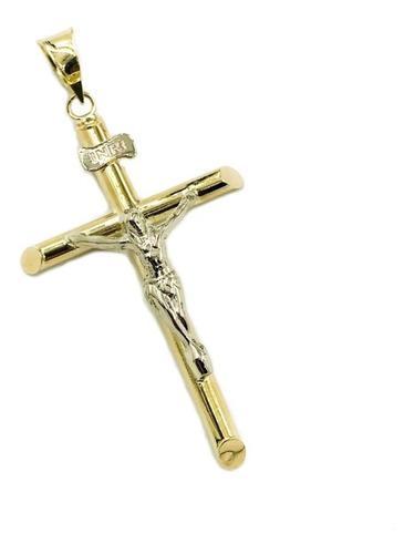 Cruz Cristo Oro 10k 1.3gr + Cadena De Regalo Msi