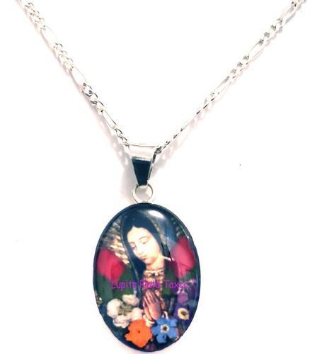 Dije Collar Virgen De Guadalupe Incluye Cadena Plata 0.925
