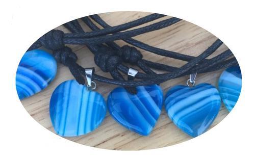 Dije Corazón Ágata Azul Natural Collar Nudo Corredizo