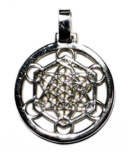 Dije Cubo De Metatron Arcangel En Plata Fina Ley.925
