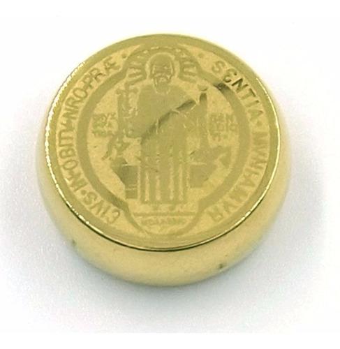 Dije De Acero Dorada Medalla Solida San Benito
