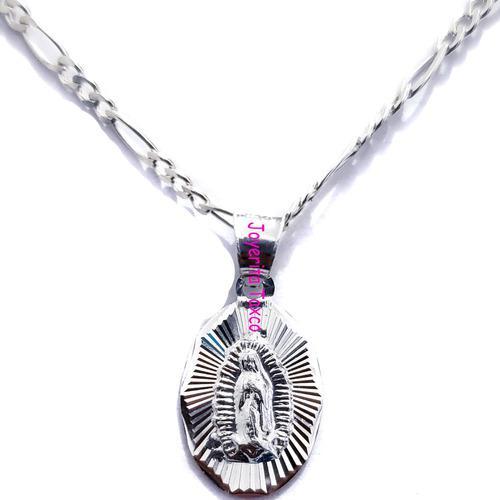 Dije Medalla Virgen De Guadalupe Incluye Cadena 100% Plata