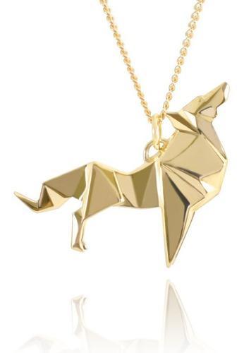 Dije Origami Lobo De Plata Con Acabado En Oro