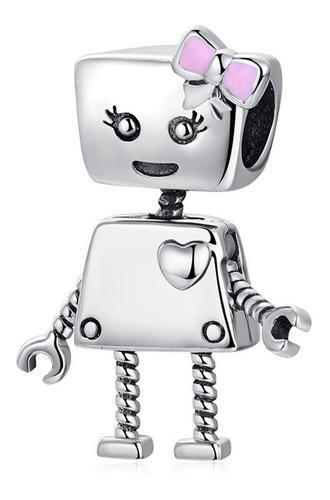 Dije Para Pulsera Plata S925 Charms Robot Moño Niña