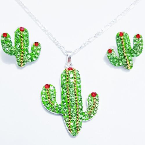 Dije Y Aretes Cactus Incluye Cadena Swarovski 100% Plata 925